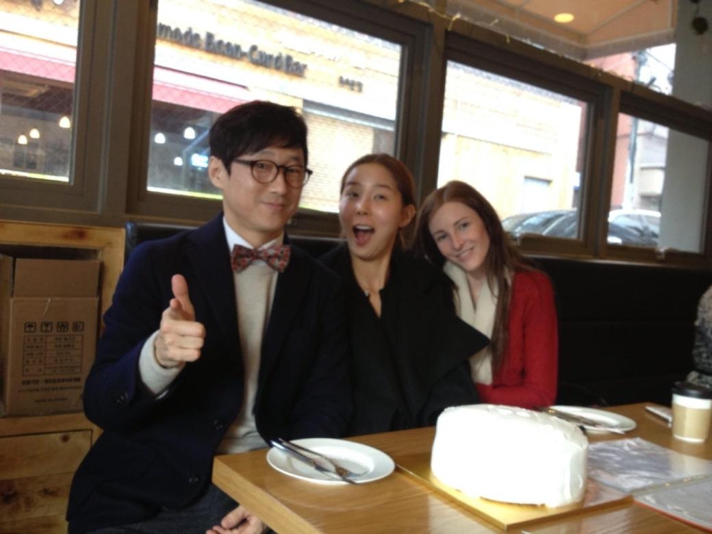 Jake and I celebrate Nayoung's birthday with LOTS of cake